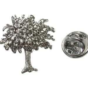 Silver Toned Olive Tree Lapel Pin